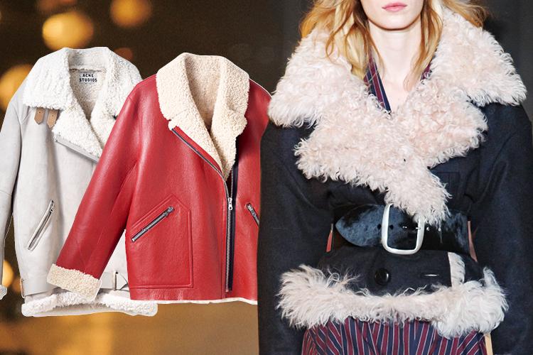 져언스러운 색감과 모피를 그대로 살린 시어링 재킷의 돌풍::양털,시어링재킷,무스탕,패션,엘르,elle.co.kr::