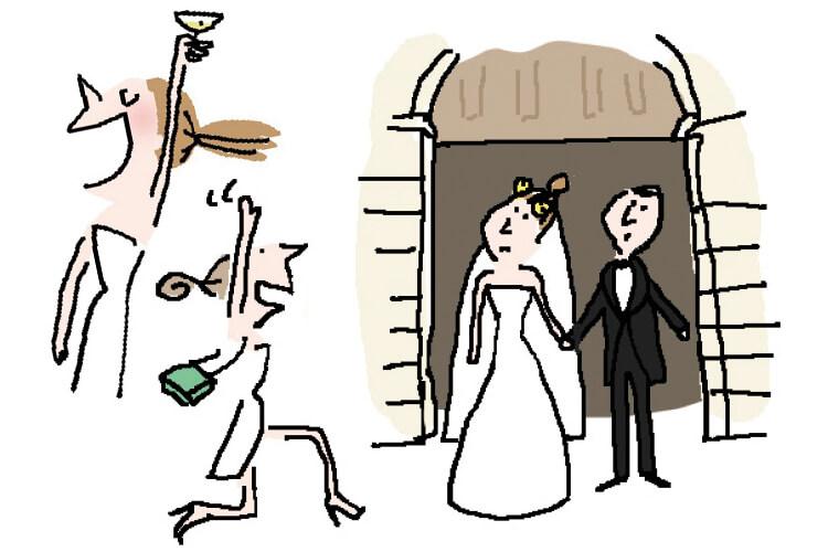 주의하세요. 결혼식 초대를 받았다고 해서 모두 환영 받는 것은 아니니까::soledad,솔대드,일러스트,만화,결혼식,하객,브라이드,엘르,elle.co.kr::