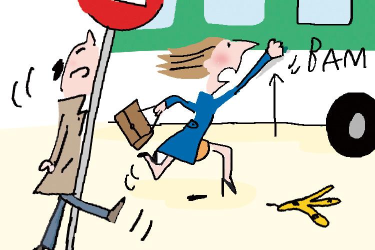 오늘도 길거리에는 일상의 바쁘고 찌든 발걸음들이 끊이지 않아요 ::솔데드, 일러스트, 일상, 거리풍경, 그림, 엘르, elle.co.kr::