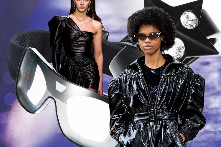 과장된 어깨의 파워 수트와 반짝이는 가죽 코트, 글래머러스한 실루엣의 드레스. 가장 풍요롭고 눈부셨던 80년대의 부활::블랙, black, 가죽 코트, 글래머러스, 80년대, 복고, 패션, 엘르, elle.co.kr::