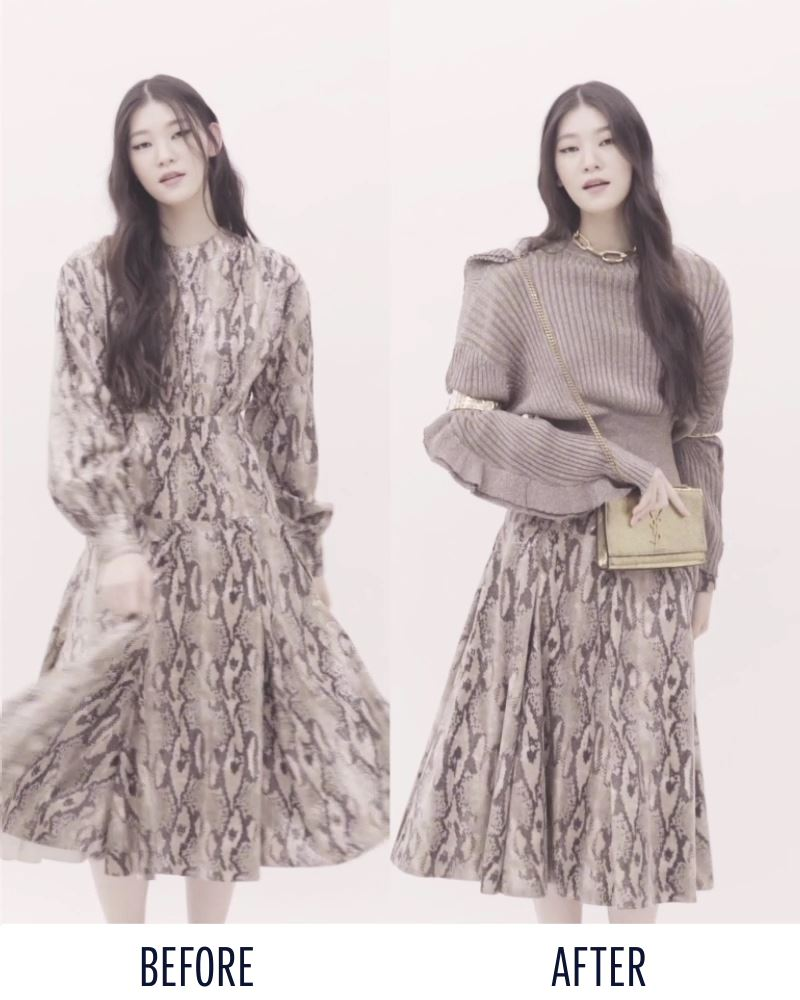 다가오는 연말을 위해! 과하지 않게 일상에서도 반짝반짝 빛날 홀리데이 룩을 찾고 있다면? F/W시즌 키 트렌드인 애니멀 패턴 중 하나인 파이톤 프린트의 드레스를 '이렇게' 연출해보세요!