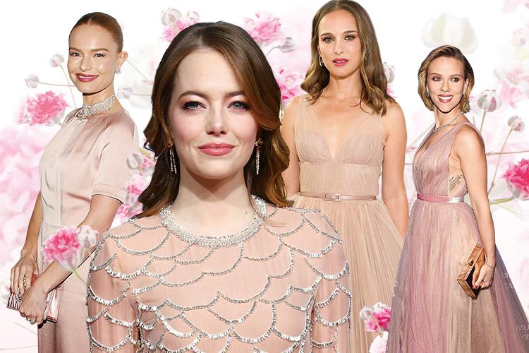 자신의 피부 톤과 꼭 맞는 은은한 누드톤 드레스를 입은 셀러브리티들의 매력 어필 시간::드레스,웨딩드레스,누드톤,핑크 드레스,본식 드레스,결혼,결혼식,신부,웨딩,브라이드,엘르 브라이드,엘르,elle.co.kr::